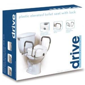 Raised Toilet Seat With Lock & Plastic Arms