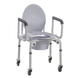 Steel Drop-Arm Commode With Wheels & Padded Armrest