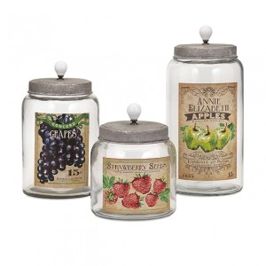 Bailey Lidded Glass Jars - Set of 3