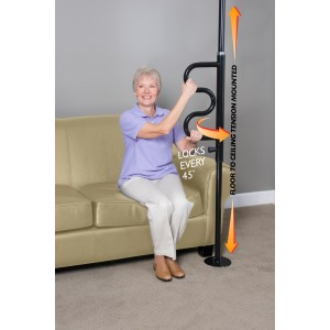 Security Pole and Curve Grab Bar-Black by Stander