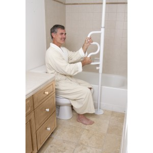 Security Pole and Curve Grab Bar-White by Stander